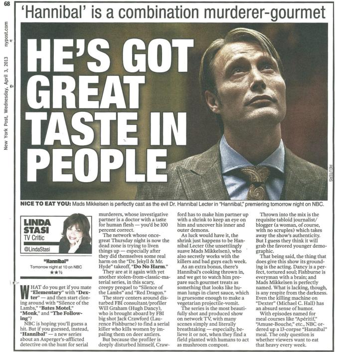 New York Post 4-3-13 Hannibal
